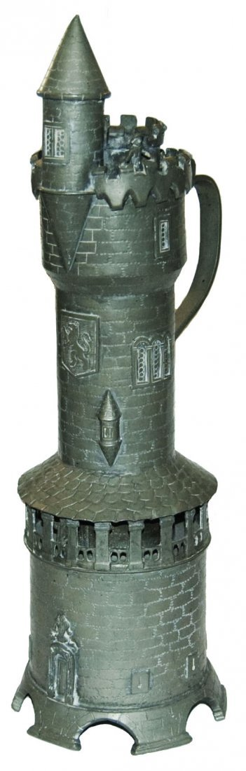 Rare Version Pewter Tower Character Stein Roof Man