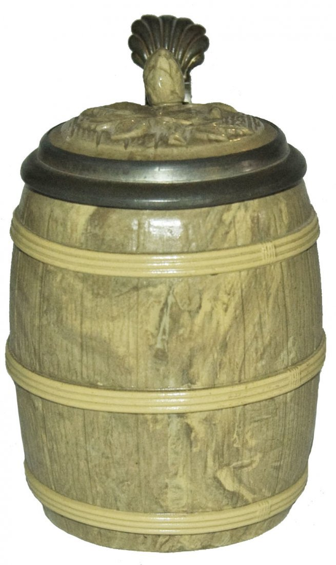 Barrel Mettlach Character Stein w Inlay Lid