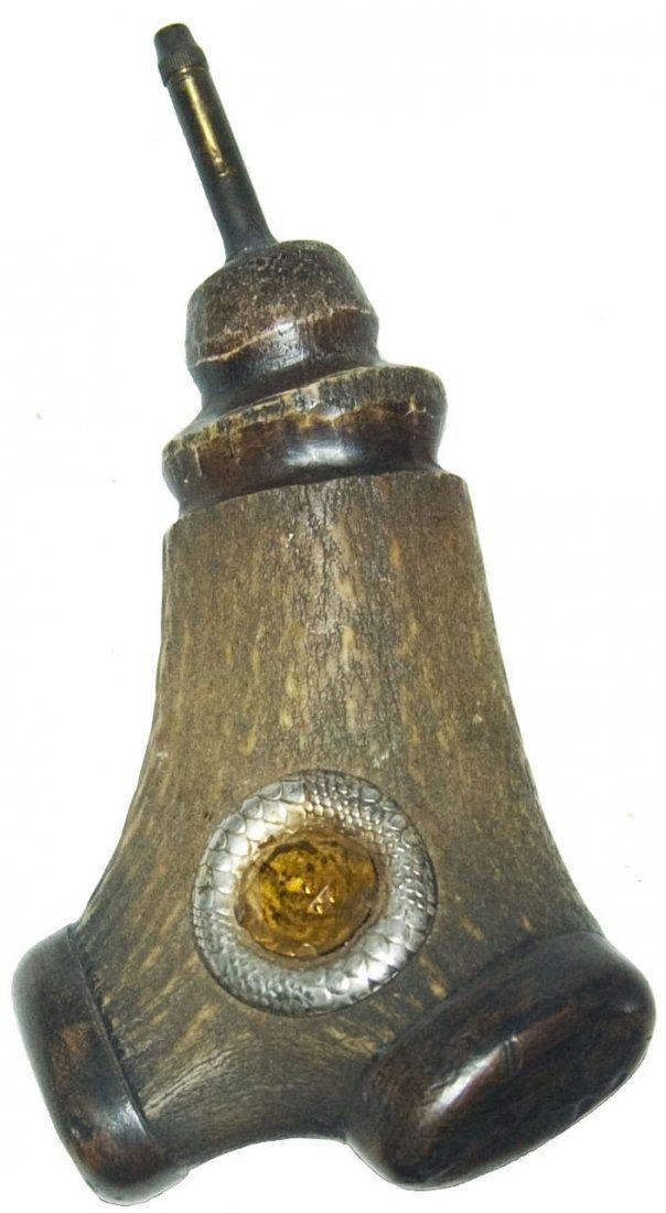 Antler Powder Horn with Amber Prism set in Metal