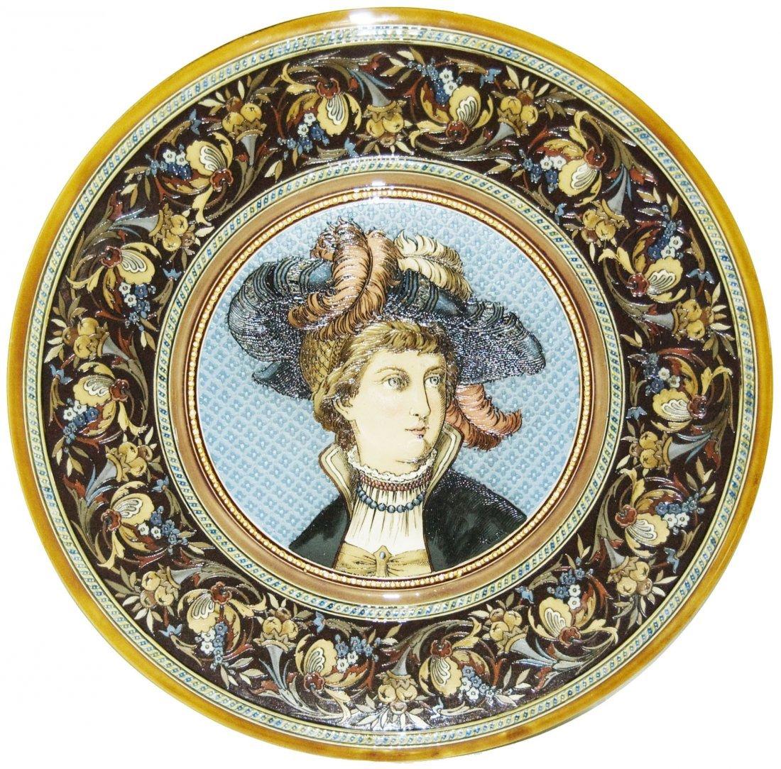 Woman w Fancy Hat Mettlach Plaque