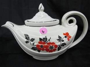 Rare Hall Red Poppy Aladdin Tea Pot with Oval Top an