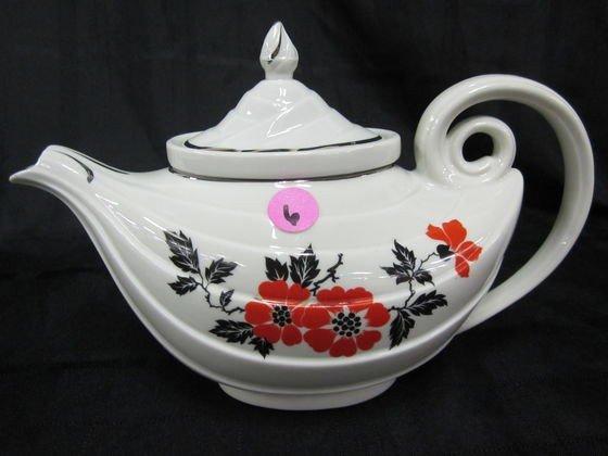 6: Rare Hall Red Poppy Aladdin Tea Pot with Oval Top an