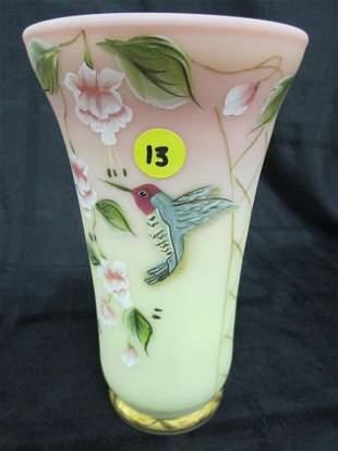 "Fenton 8"" Burmese HP Vase with Humming Bird"