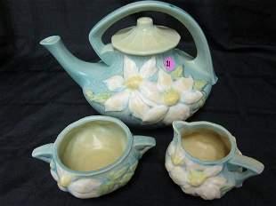 Roseville Clematis Tea Pot, Cream and Sugar Set