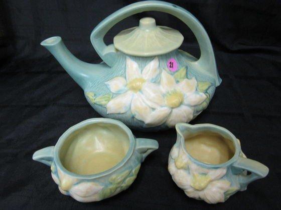 21: Roseville Clematis Tea Pot, Cream and Sugar Set