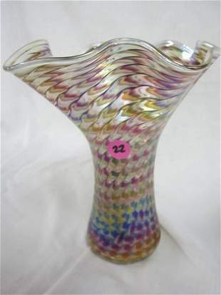 "Excellent Glass Eye King Tut Hankerchief Vase 8"""