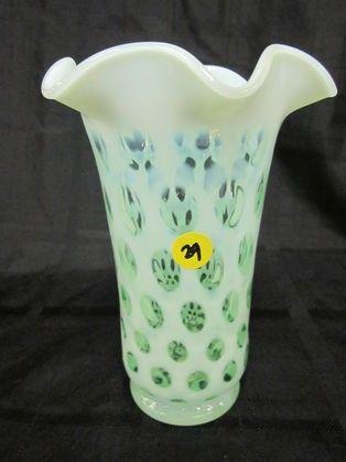 """Fenton 8"""" Green Opal Coin Spot Vase"""
