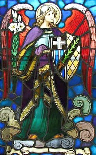 20: Archangel Gabriel Leaded Glass Window