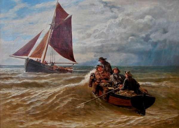 21: C. E. Johnson Maritime Oil Painting