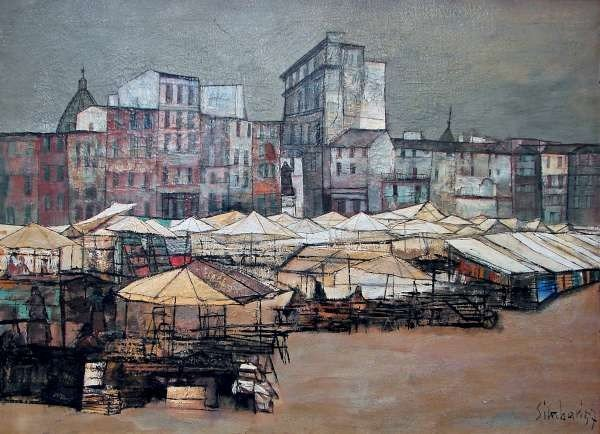 146: Nicola Simbari Oil Painting 1957 City View