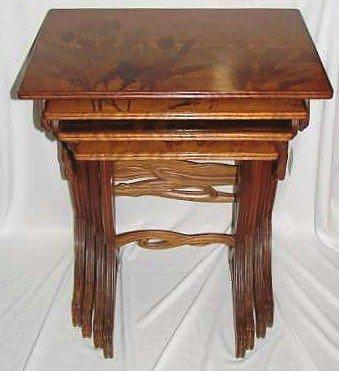 11: Emile Galle Signed Nested Magnolia Table Set