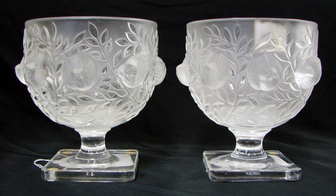3: 2 Lalique Elisabeth Vases