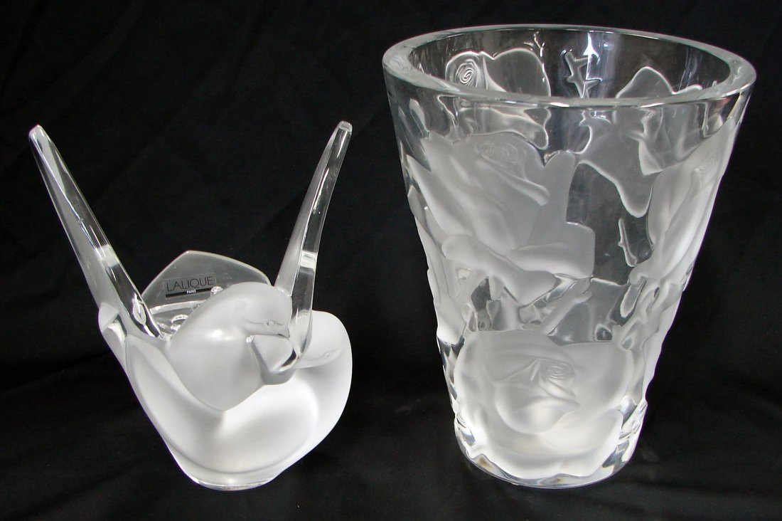 10: 2 Lalique Vases Sylvie and Ispahan
