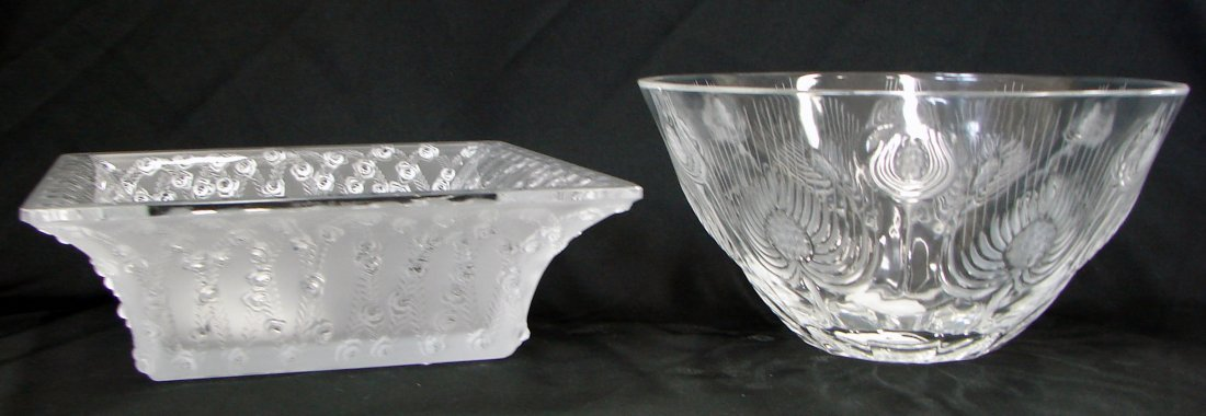11: 2 lalique Dishes Roses and Thistle