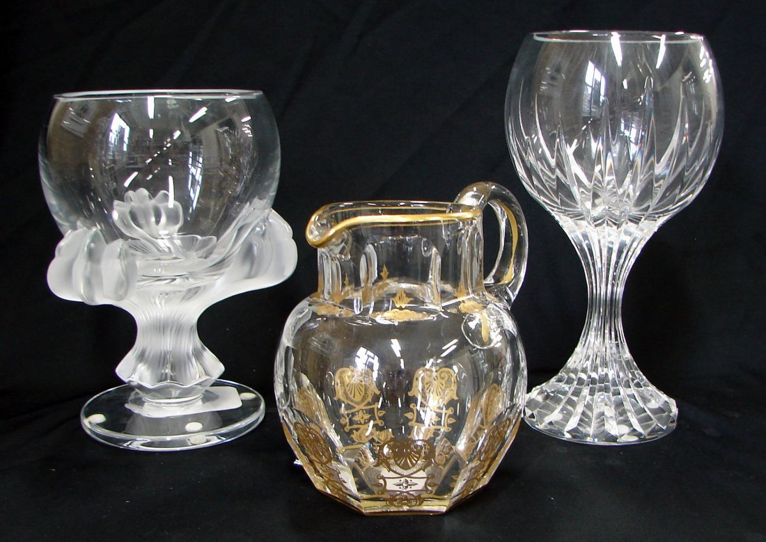 14: Lalique Baghera + Baccarat Vase and Empire Pitcher