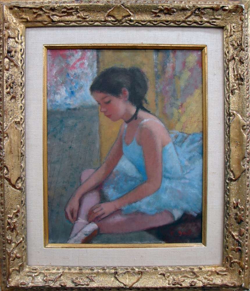 """5: Signed Francois Gall Oil Painting """"Avant Le Ballet"""""""