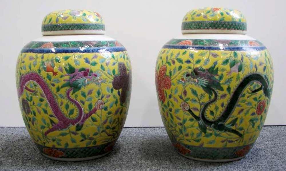 9: Pair Antique Chinese Porcelain Ginger Jars