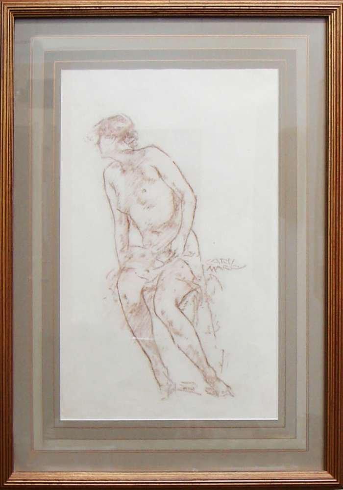 11: Carl von Marr Crayon Pencil Drawing Untitled