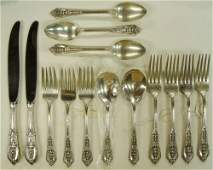 6: 14 Sterling Wallace Rose Point Silver Flatware