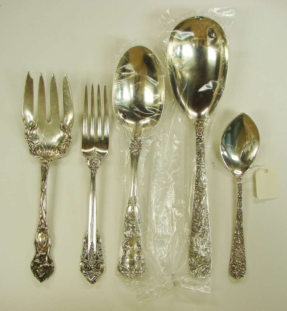 9: 5 Sterling Silver Serving Items Kirk Repousse Watson
