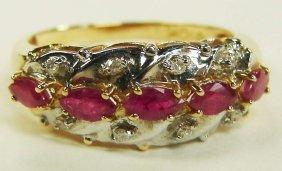 14: 10K Gold Rubies Diamonds Ring