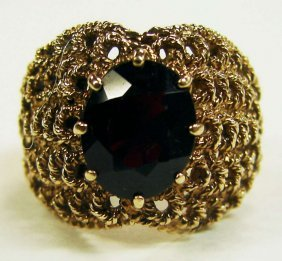 9K Gold Red Garnet Ring