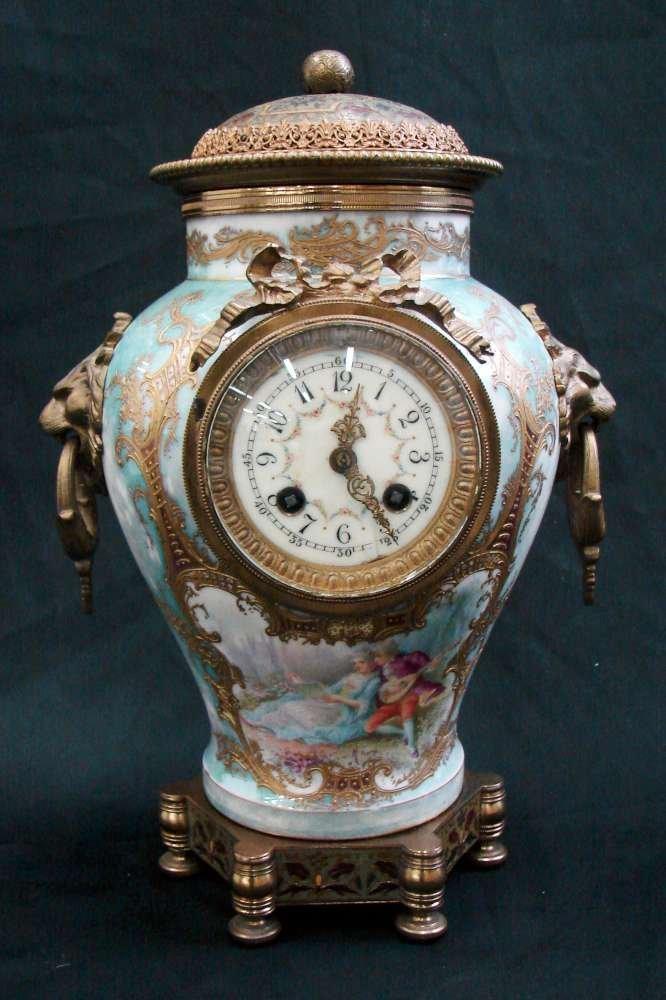 Circa 1900 German Austrian Porcelain Mantel Clock