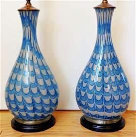 Pair of Barovier Ca 1940 Fenice / Neolitico Lamps Rare
