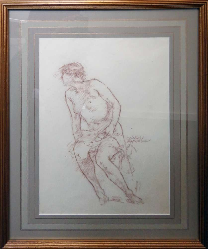 Carl von Marr Crayon Pencil Drawing Untitled
