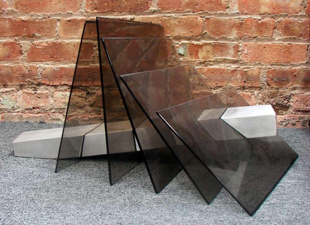 Jack A. Schmidt Steel and Art Glass Sculpture 1979