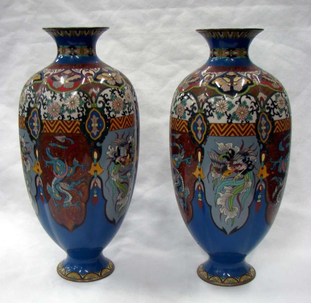 Pair of Meiji Ca 1900 Japanese Cloisonné Vases