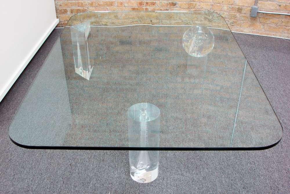 Glass and Cast Acrylic Circa 1975 Coffee Table