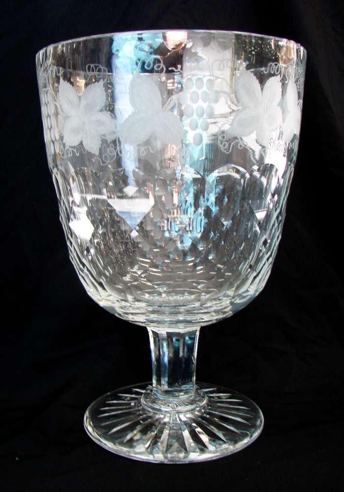 Signed Webb Massive Grape and Vine Motif Footed Vase