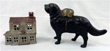 2 Cast Iron Antique Banks Rescue Dog and House