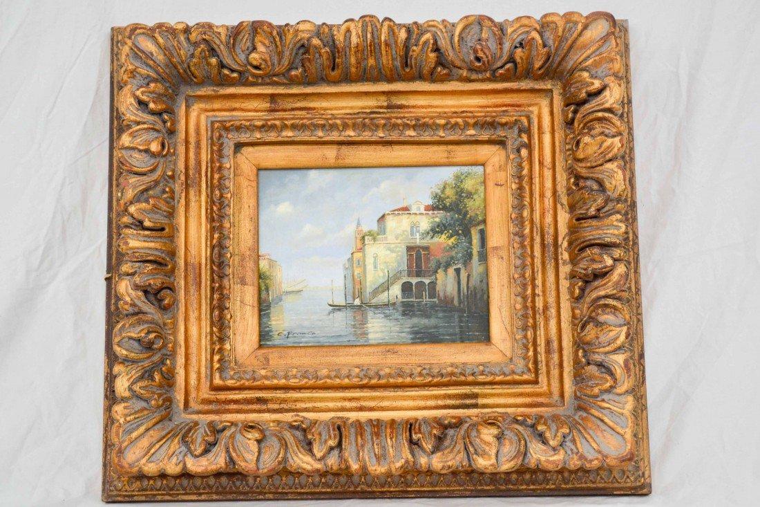 Framed oil painting on wood