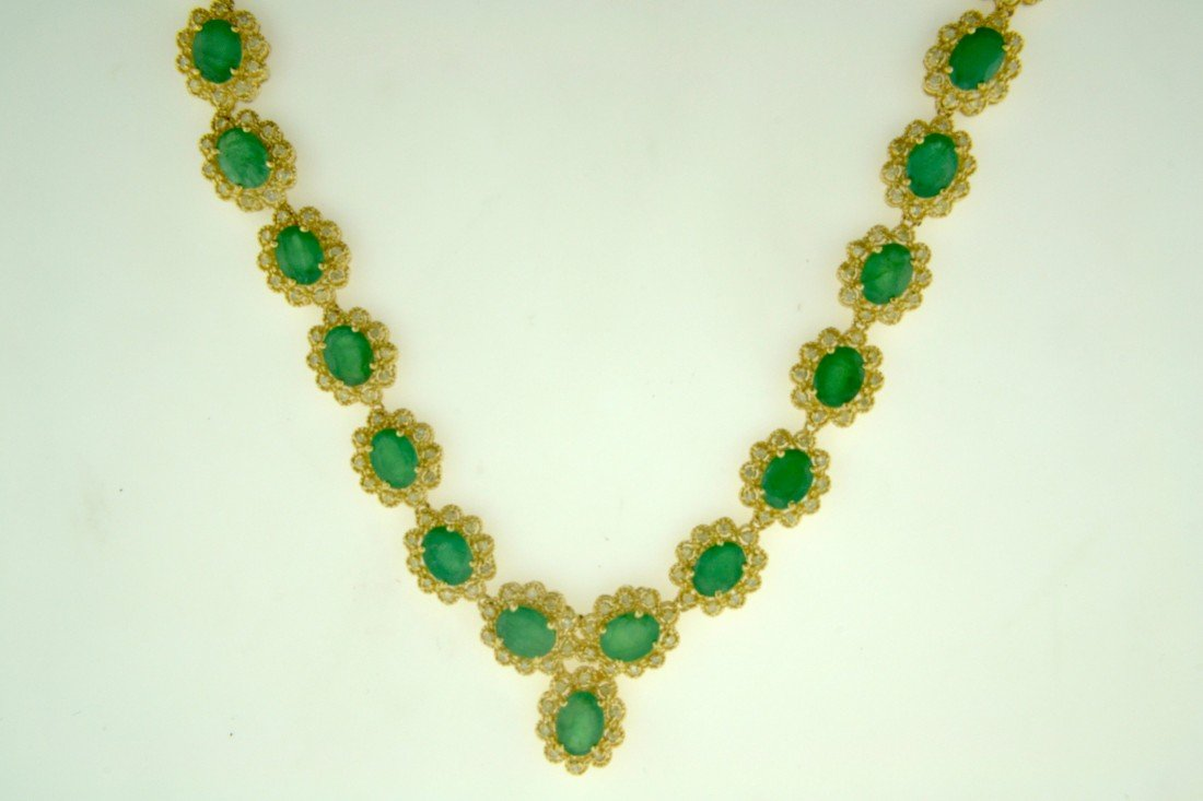 Emerald and Diamond Necklace Appraised Value: $30,100
