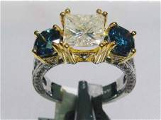 5.14ctw, 2.08ct Center Diamond 18KT Gold Ring