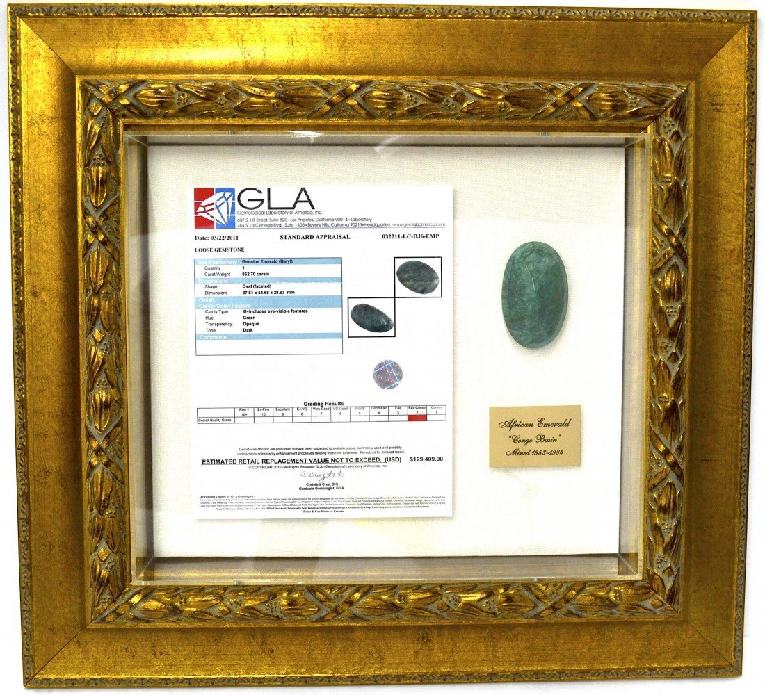862.70 CTS Emerald Stone Appraised Value: $129,409