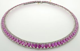 Ruby And Sapphire Necklace Appraised Value: $ 41,828