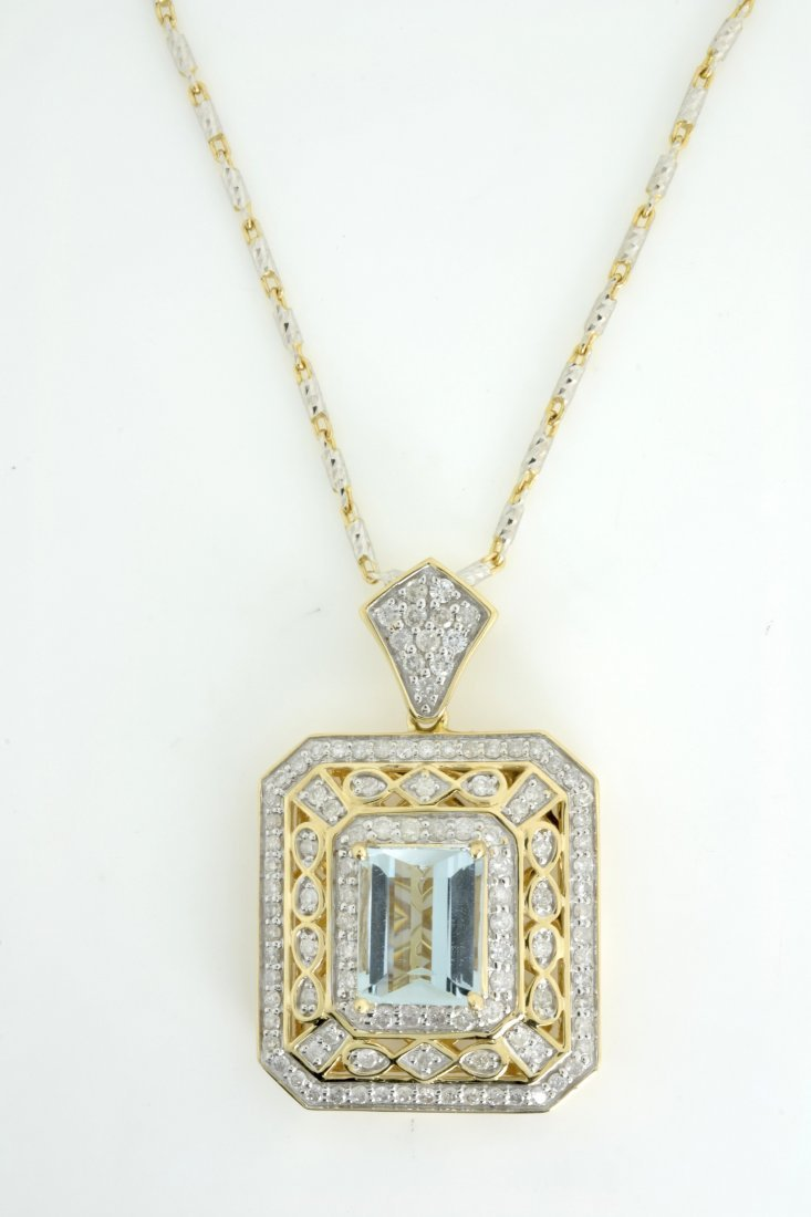 Aquamarine and Diamond Necklace Appraised Value: $18,30