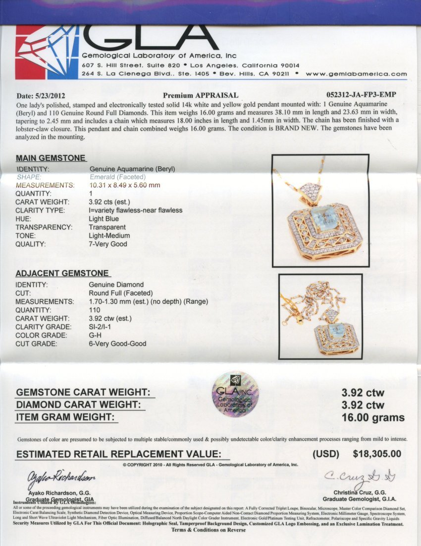 Aquamarine and Diamond Necklace Appraised Value: $18,30 - 2