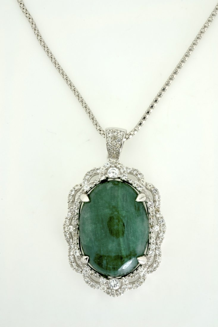 Emerald and Sapphire Necklace Appraised Value: $2,297