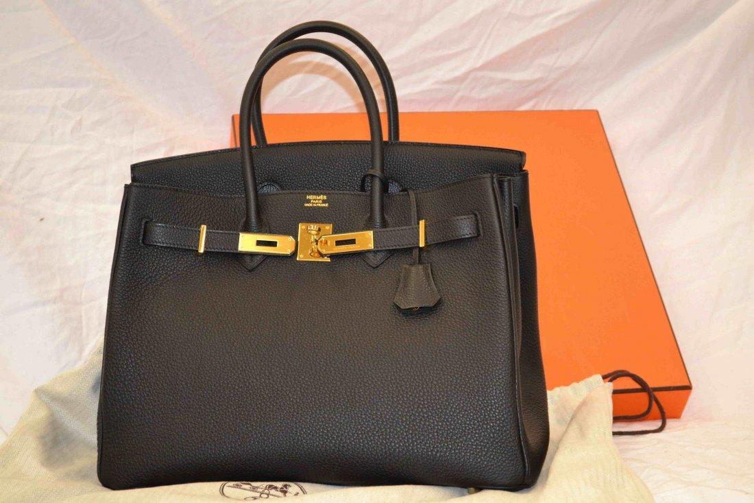NEW Black Hermes Birkin Purse 35 cm