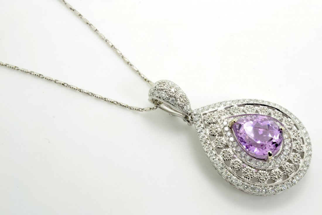 Kunzite and Diamond Necklace Appraised Value: $16,000