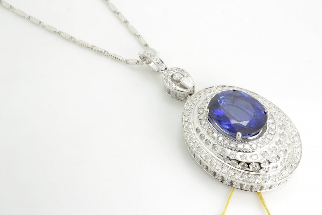 17cts Sapphires & 4cts Diamond Necklace GIA CERTIFIED