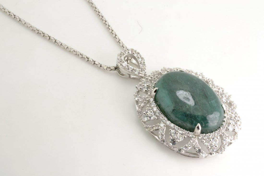 Emerald & Sapphire Necklace Appraised Value: $8,702