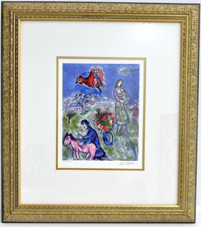 """Marc Chagall's """"Sur La Route Du Village"""" Art (FRAMED)"""