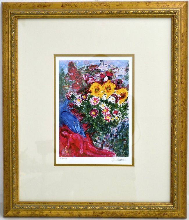 "Marc Chagall's ""Les Soucis"" Art (FRAMED)"