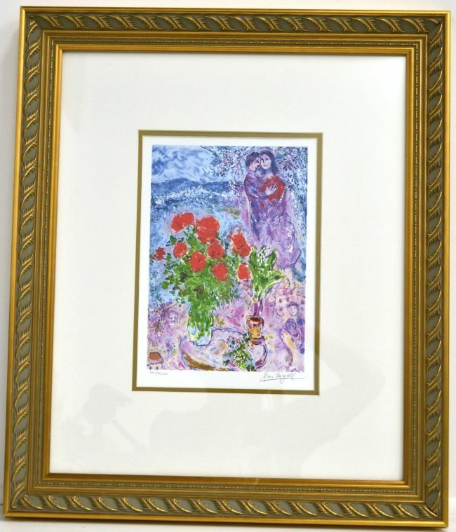 "Marc Chagall's ""Red Bouquet With Lovers"" Art (FRAMED)"