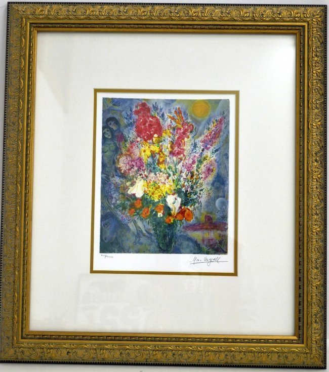 "Marc Chagall's ""Floral Bouquet"" Art (FRAMED)"
